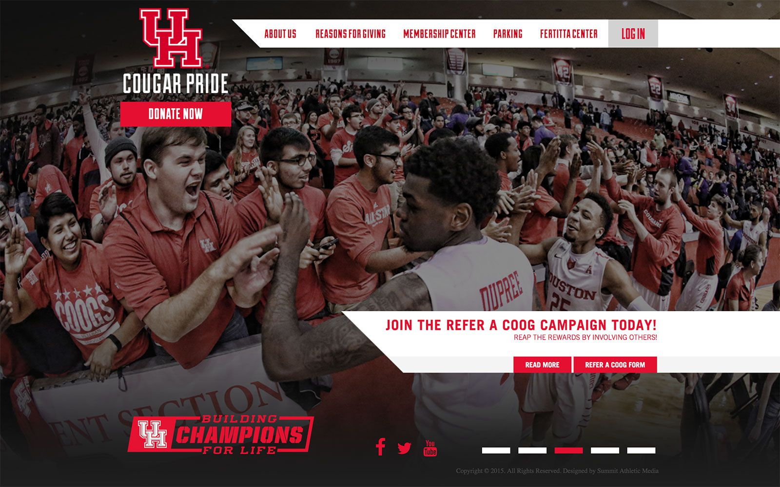 Cougar Pride Fundraising Website | <a href='http://uhcougarpride.com/' target='_blank'>Visit Site <i class='nc-icon-glyph arrows-1_share-91'></i></a><br><span>University of Houston</span>
