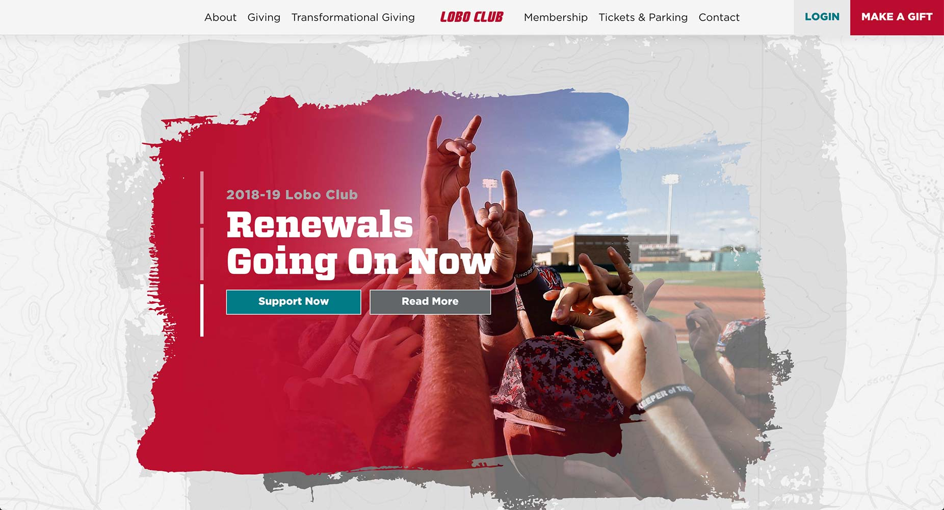 Lobo Club Fundraising Website | <a href='https://www.unmloboclub.com/' target='_blank'>Visit Site <i class='nc-icon-glyph arrows-1_share-91'></i></a><br><span>University of New Mexico</span>